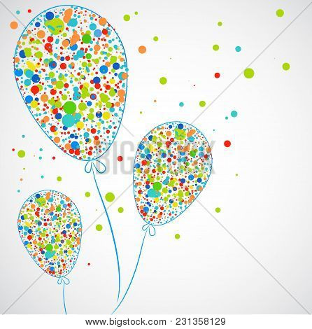 Funny Balloons With Colorful Dots. Vector Illustration