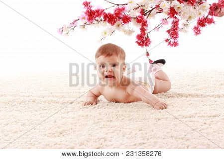 Happy Smiling The Baby Is Lying On Her Stomach On The Carpet In The Room And Smiling Under The Branc