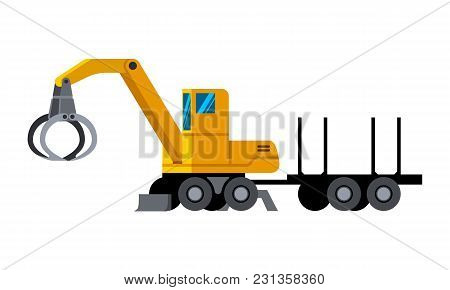 Wheeled Timber Handler With Trailer Minimalistic Icon Isolated. Forestry Equipment Isolated Vector.