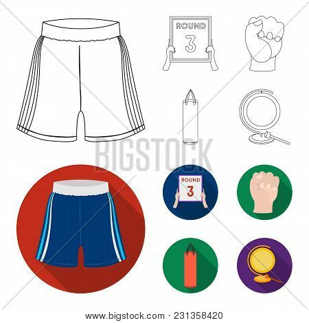 Boxing, Sport, Round, Hand .boxing Set Collection Icons In Outline, Flat Style Vector Symbol Stock I