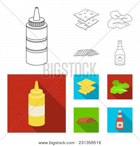 Burger And Ingredients Outline, Flat Icons In Set Collection For Design. Burger Cooking Vector Symbo