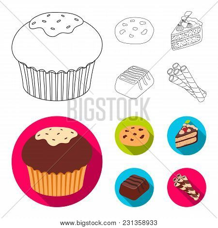 American Cookies, A Piece Of Cake, Candy, Wafer Tubule. Chocolate Desserts Set Collection Icons In O