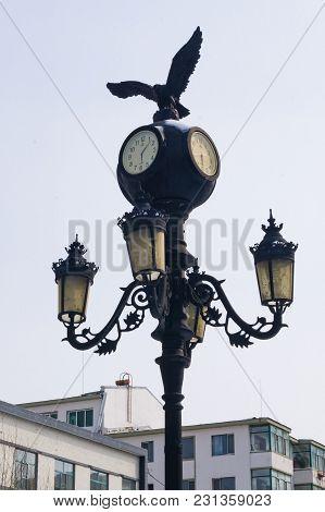Hunchun, Jilin, China - March 8, 2018: Street Lantern On Hunchun Street In China