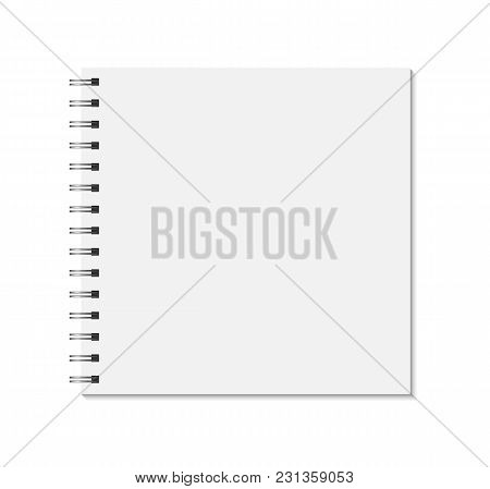 Square Notebook Mock Up Isolated On White Background. Blank Pages, Copybook With Metal Spiral Templa