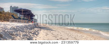 White Sand Beach And Aqua Blue Water Of Clam Pass In Naples, Florida