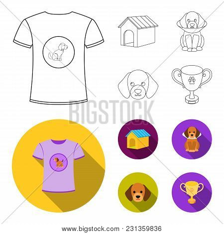 Dog House, Protective Collar, Dog Muzzle, Cup. Dog Set Collection Icons In Outline, Flat Style Vecto