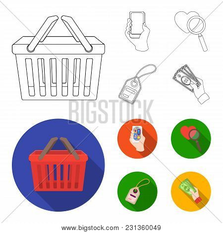 Hand, Mobile Phone, Online Store And Other Equipment. E Commerce Set Collection Icons In Outline, Fl