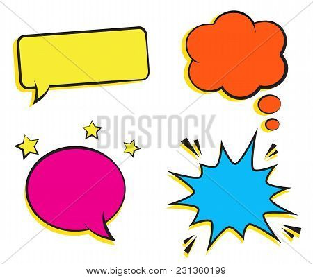 Set Of Empty Retro Colorful Comic Bubbles And Elements. Vector Illustration, Vintage Design, Pop Art