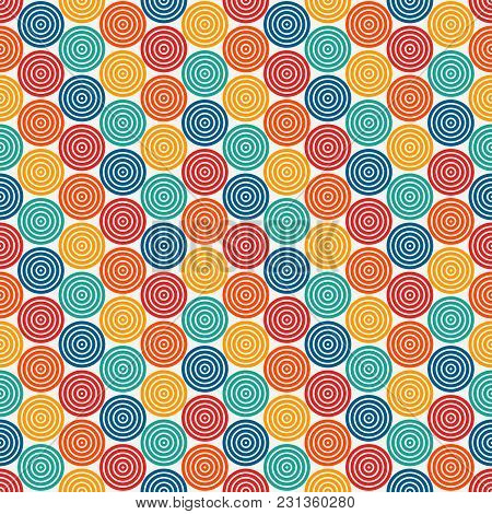 Seamless Pattern With Simple Geometric Forms. Repeated Circles Ornamental Wallpaper. Abstract Backgr