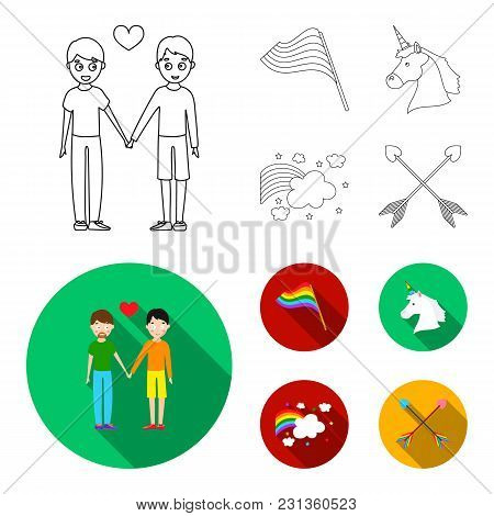 Flag, Unicorn Symbol, Arrows With Heart.gay Set Collection Icons In Outline, Flat Style Vector Symbo