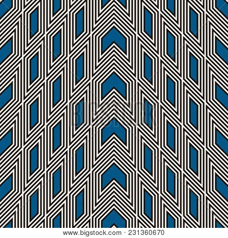 Simple Modern Print With Arrows And Pointers. Outline Seamless Pattern With Geometric Figures. Ethni