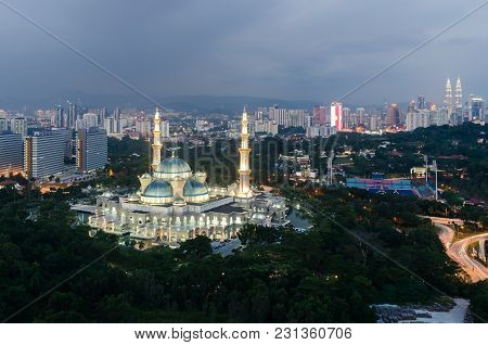 Aerial View Of Federal Territory Mosque In Night. Federal Territory Mosque Is A Major Mosque In Kual