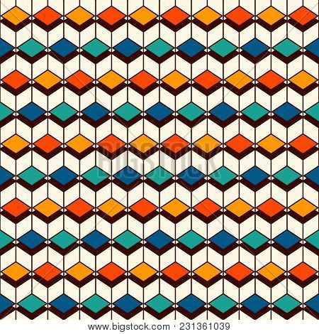 Repeated Diamonds Background. Geometric Shapes Wallpaper. Colorful Seamless Pattern Design With Poly