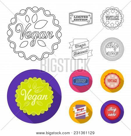 Limited Edition, Vintage, Mega Discont, Dig Sale.label, Set Collection Icons In Outline, Flat Style