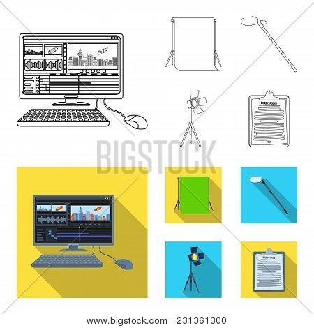 Hromakey, Script And Other Equipment. Making Movies Set Collection Icons In Outline, Flat Style Vect