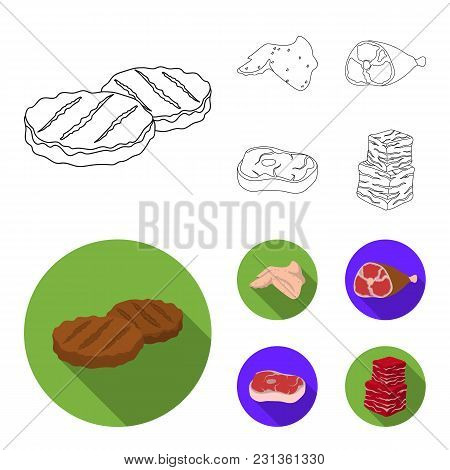 Chicken Wings, Ham, Raw Steak, Beef Cubes. Meat Set Collection Icons In Outline, Flat Style Vector S