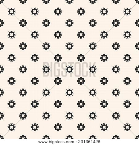 Vector Ornamental Seamless Pattern With Simple Carved Geometric Figures, Small Square Cross Shapes.