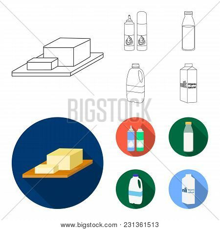 Milk, Calcium, Product, Food .milk Product And Sweet Set Collection Icons In Outline, Flat Style Vec