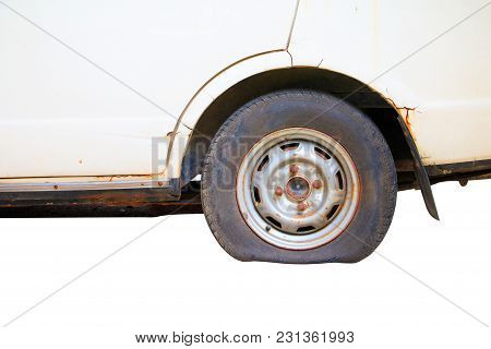 Wheel Flat Tire Of The Car Old Isolated On White Background And Clipping Path With Copy Space Add Te