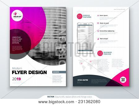 Flyer Template Layout Design. Business Flyer, Brochure, Magazine Or Flyer Mockup In Bright Colors Wi