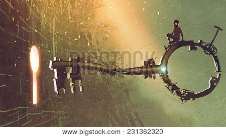Boy Sitting On The Big Key Moving Towards The Keyhole With Light Glowing Inside, Digital Art Style,