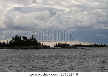 Coastline Of Georgian Bay During Strong Weather