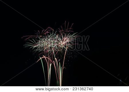 Canadas Day Fireworks Long Exposure Night Time