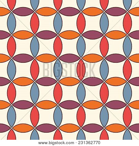 Vivid Colors Abstract Background With Overlapping Circles. Petals Motif. Seamless Pattern With Class