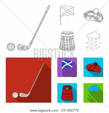 Flag, Kilt, Rainy Weather, Cap.scotland Country Set Collection Icons In Outline, Flat Style Vector S