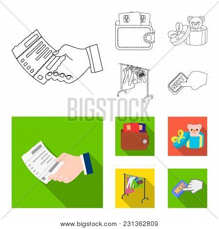Purse With Credit Cards And Other  Icon In Outline, Flat Style.gift Sale Of Things, Button More Icon