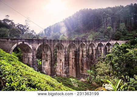 Viaduct named Nine Arches Bridges near the town of Ella, Sri Lanka