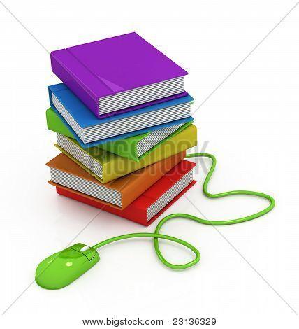 Computer-Maus und Bücher