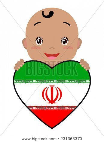 Baby and a Iran flag in the shape of a heart. Smiling face of a child, symbol of patriotism, independence, travel, emblem of love.
