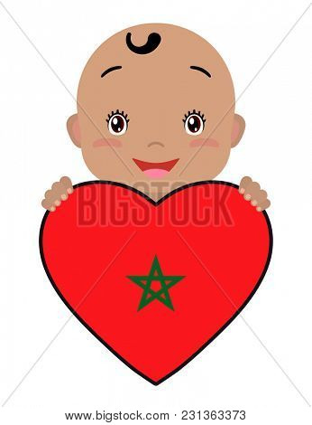 Baby and a Morocco flag in the shape of a heart. Smiling face of a child, symbol of patriotism, independence, travel, emblem of love.