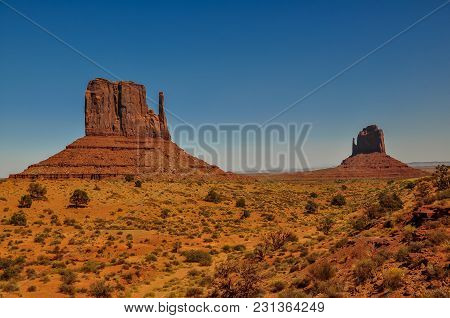 The Mittens Buttes, Rock Formations, In Monument Valley, Arizona