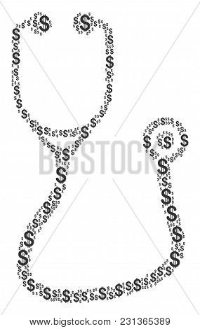 Stethoscope Mosaic Of American Dollars. Vector Dollar Currency Icons Are Grouped Into Stethoscope Co