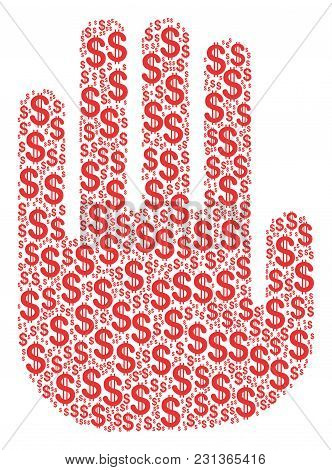 Stop Hand Composition Of Dollar Symbols. Vector Dollar Currency Icons Are Grouped Into Stop Hand Mos