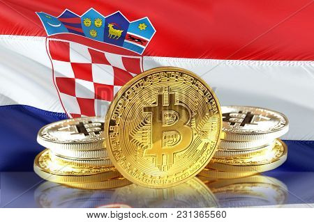 Bitcoin Coins On Croatia's Flag, Cryptocurrency, Digital Money Concept Photo