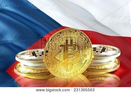 Bitcoin Coins On Czech Republic 's Flag, Cryptocurrency, Digital Money Concept Photo