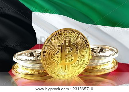 Bitcoin Coins On Kuwait's Flag, Cryptocurrency, Digital Money Concept Photo
