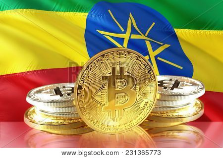 Bitcoin Coins On Ethiopia's Flag, Cryptocurrency, Digital Money Concept Photo