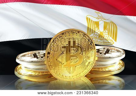 Bitcoin Coins On Iraq's Flag, Cryptocurrency, Digital Money Concept Photo