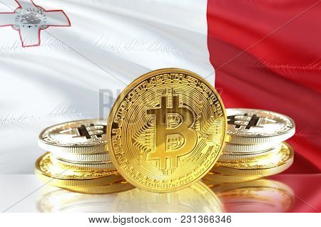 Bitcoin Coins On Malta's Flag, Cryptocurrency, Digital Money Concept Photo