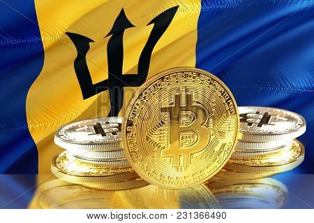 Bitcoin Coins On Barbados's Flag, Cryptocurrency, Digital Money Concept Photo