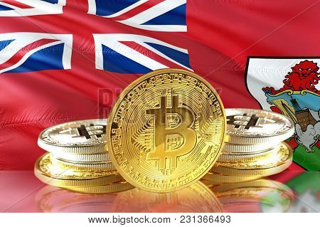 Bitcoin Coins On Bermuda's Flag, Cryptocurrency, Digital Money Concept Photo