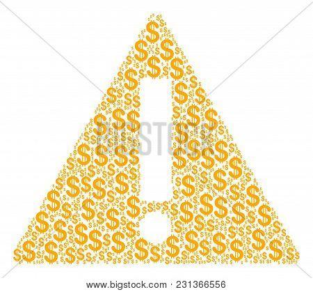 Warning Mosaic Of Dollar Symbols. Vector Dollar Symbols Are Organized Into Warning Composition.