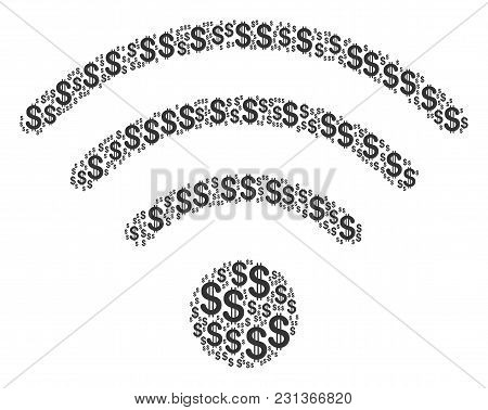 Wi-fi Source Collage Of Dollars. Vector Dollar Symbols Are Combined Into Wi-fi Source Mosaic.