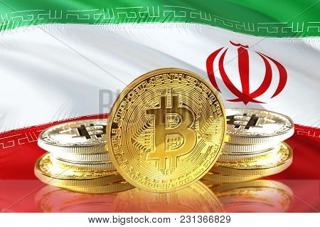 Bitcoin Coins On Iran's Flag, Cryptocurrency, Digital Money Concept Photo