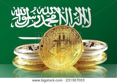 Bitcoin Coins On Saudi Arabia's Flag, Cryptocurrency, Digital Money Concept Photo