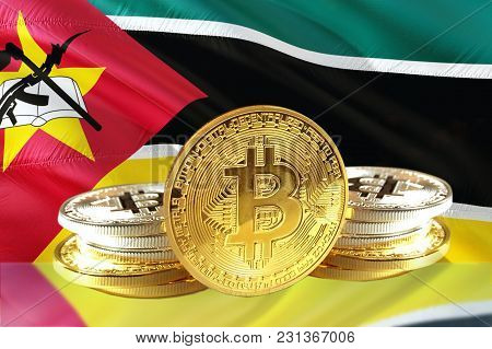 Bitcoin Coins On Mozambique's Flag, Cryptocurrency, Digital Money Concept Photo